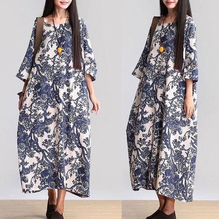 Хлопок Лен свободно висящую Длинные платья макси с коротким рукавом летние платья