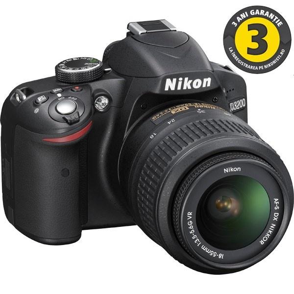 Camera foto digitala NIKON D3200 18-55 VR, 24.2 Mp, 3 inch, negru