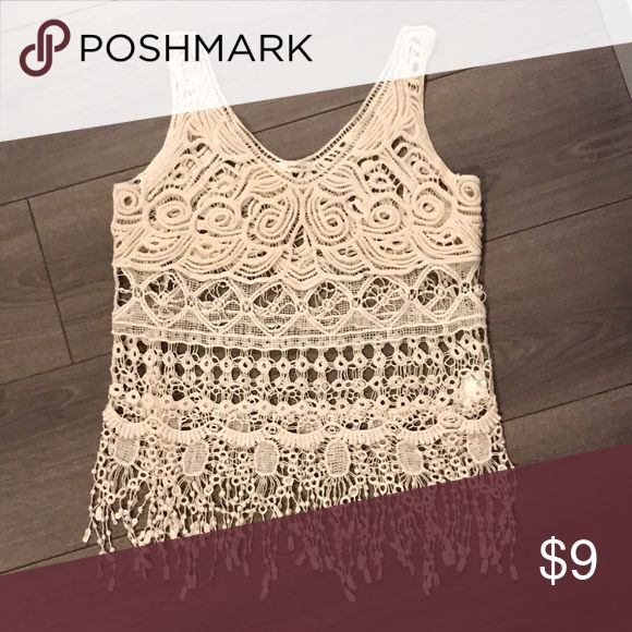 Cute crochet beige Top size S Cute for over a tank top or a bathing suit or bikini top.. never worn! Color is very combinable... thank u!😀 Tops