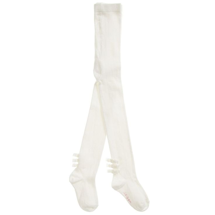 https://www.childrensalon.com/#a_aid=51f456f914eb5 Smart ivory tights for girls designed by Lili Gaufrette, with demure, velvet bows at the backs of the ankles. Made in soft, comfortable and hard-wearing cotton, they will last until the sun shines all day and it becomes too hot to wear them.