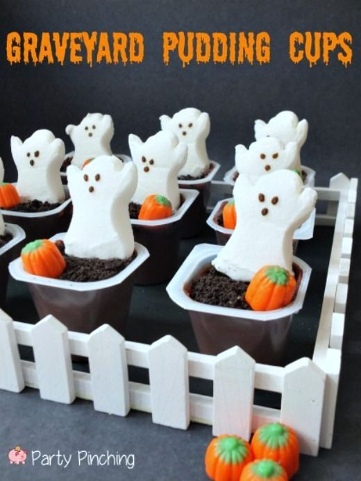 graveyard pudding cups #halloween