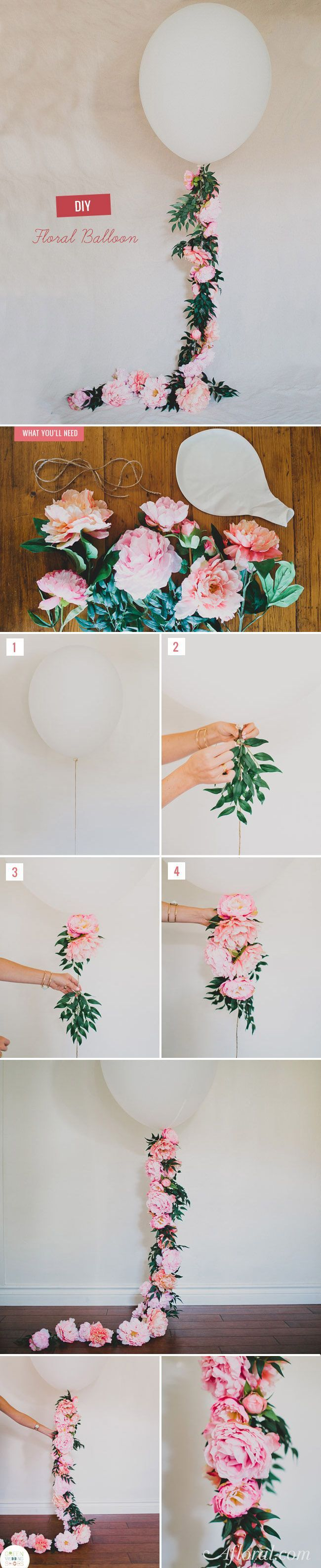 Decorate your wedding, bridal or baby shower with this adorable floral balloon designed by Green Wedding Shoes. Follow this simple DIY and find everything you need at http://Afloral.com.