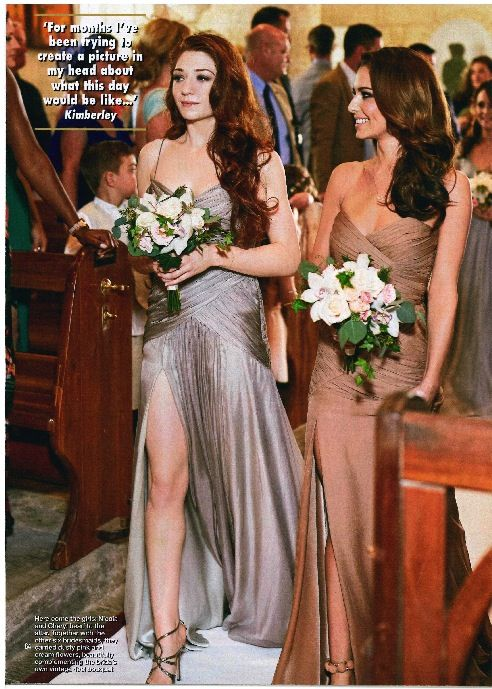 Bridesmaids Cheryl Fernandez-Versini and Nicola Roberts wearing bespoke Ariella dresses alongside the bride and groom's sisters.
