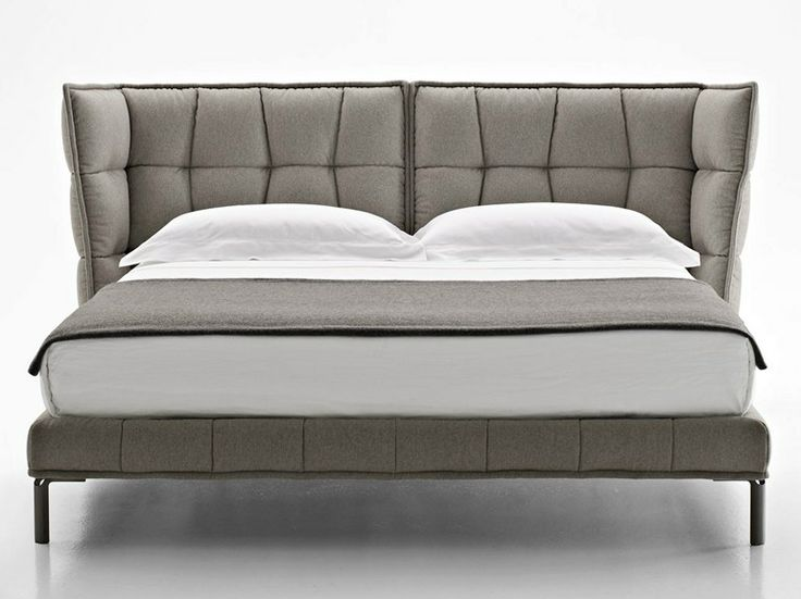 Fabric double bed with upholstered headboard Husk Collection by B&B Italia | design Patricia Urquiola