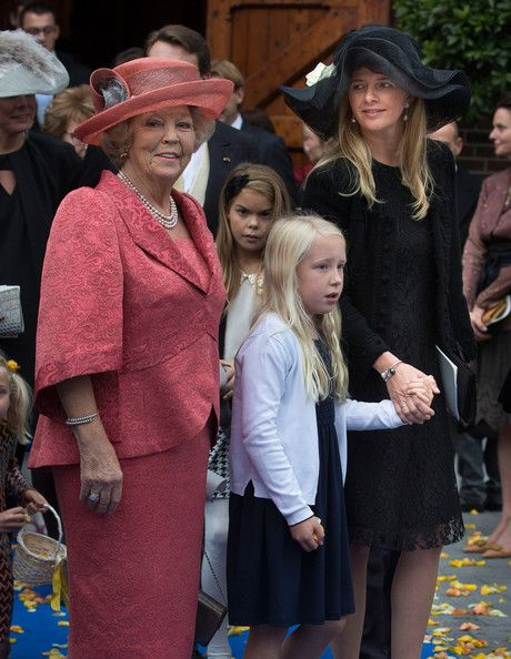 Princess Beatrix of The Netherlands, Princess Luana and Princess Mabel of The Netherlands attend the wedding of Prince Jaime de Bourbon Parma and Viktoria Cservenyak at The Church Of Our Lady At Ascension on October 5, 2013 in Apeldoorn, Netherlands.