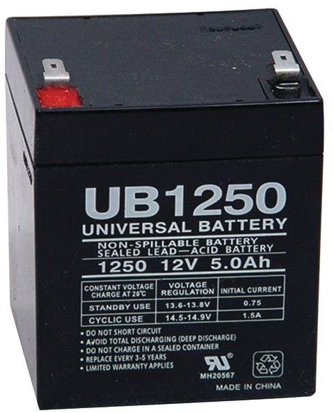 upg - sealed lead acid batteries (12v; 5ah; .187 tab terminals; ub1250)