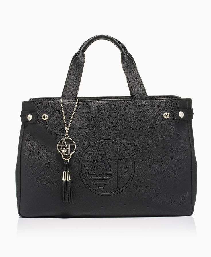 Armani Jeans - Ecosaffiano AJ Charm Tote Bag - Black - Bags - Womens