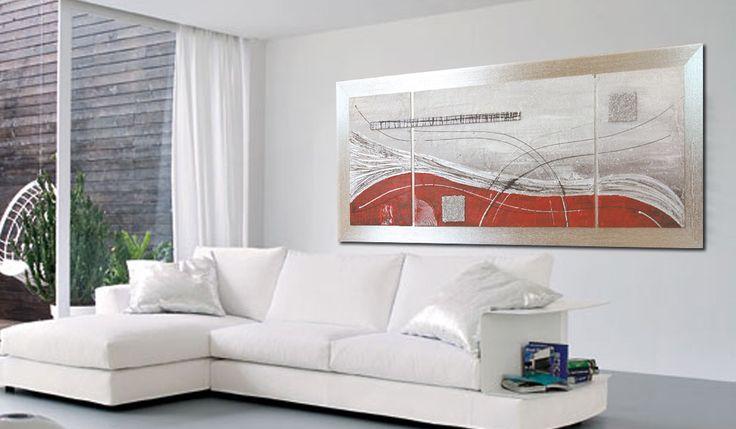 Quadro astratto dipinto cod 156 - dipinto a mano su tela completo di cornice foglia argento - montato a sbalzo modulare tre pezzi - Quadro materico dipinto