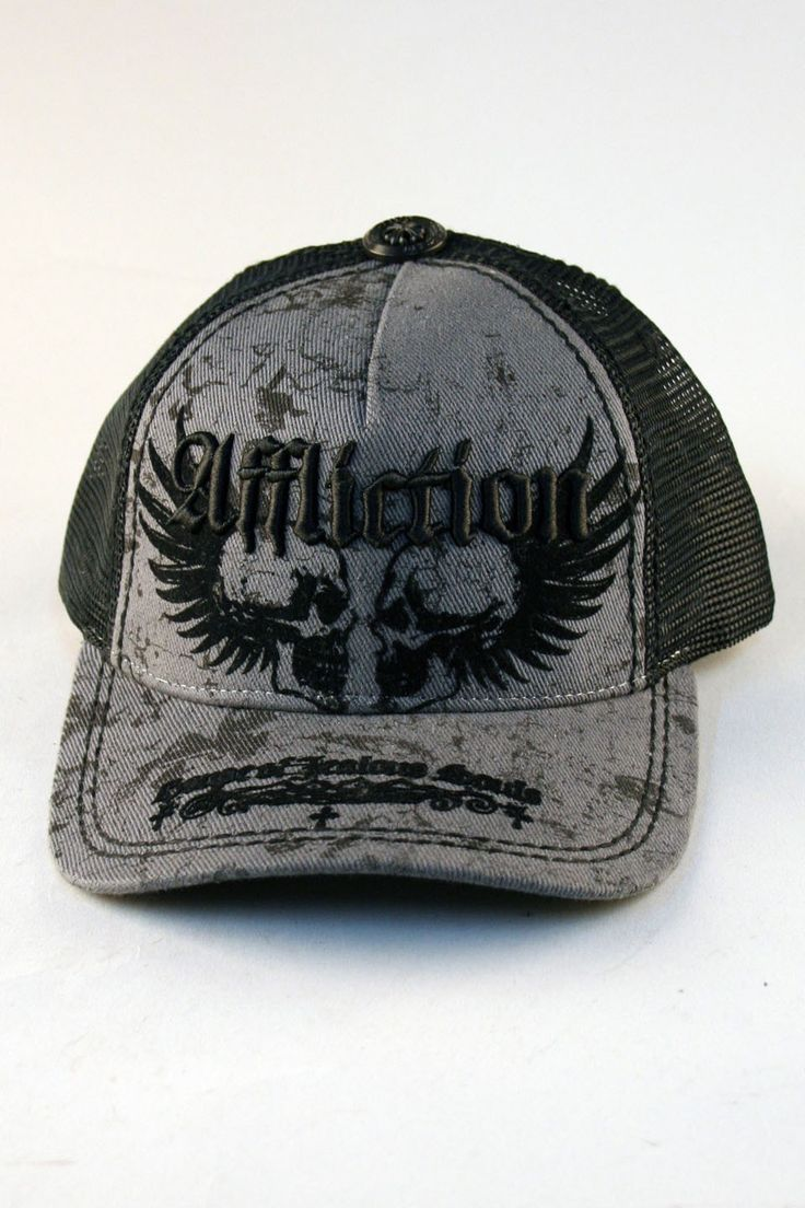 Affliction® Neglect Trucker Hat in Grey for Men and Women    Affliction clothing makes cool alternatives to mens fitted caps including Neglect, a grey on black trucker hat with style and attitude. Don't be fooled by the name: Affliction mens hat also looks super hot on women. Embroidered custom hat by Affliction is a must-have addition to your hat and cap collection.    SKU: AF1223-GREY        50%Cotton 50% Polyester.      Affliction logo embroidered.      Black contrast print…