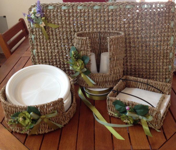 Set per la casa completo di zerbino,tovaglioli ,porta bicchieri e portapiatti., by lavieenrosecreazioni, 62,50 € su misshobby.com