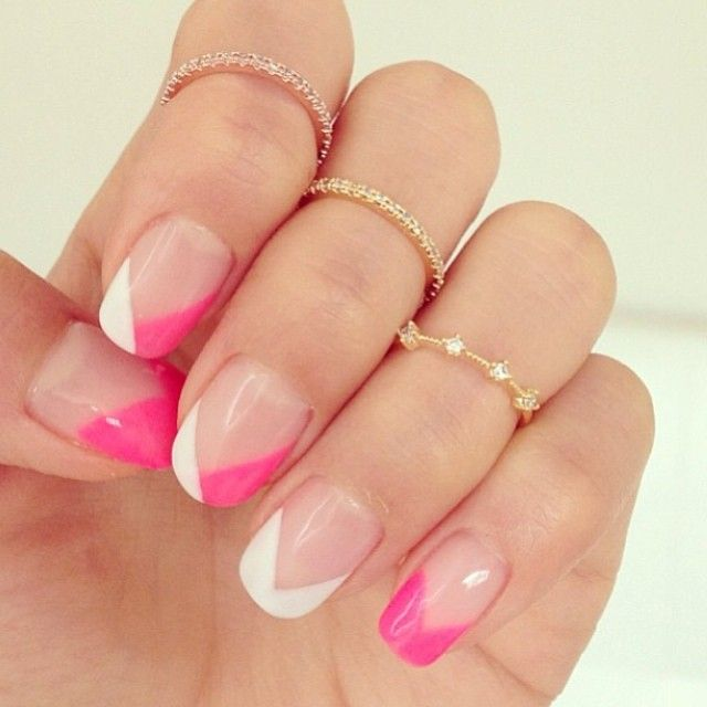 pink and white triangles, french manicure style!