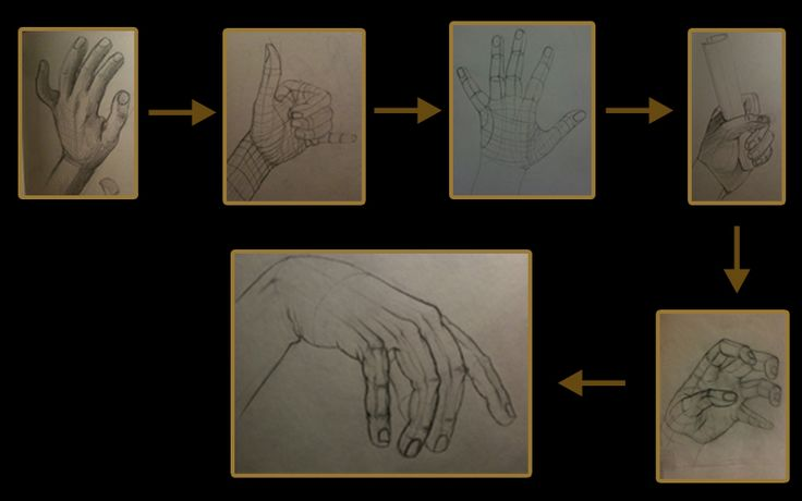 Studying form from life - My own hand and the steps I took in order to figure out what form is.  First drawing was done at the beginning of 2010. Now i can see how bad the last hand is :) this was my progress however. I hope it helps people who are just starting to learn how to draw. Cheers!