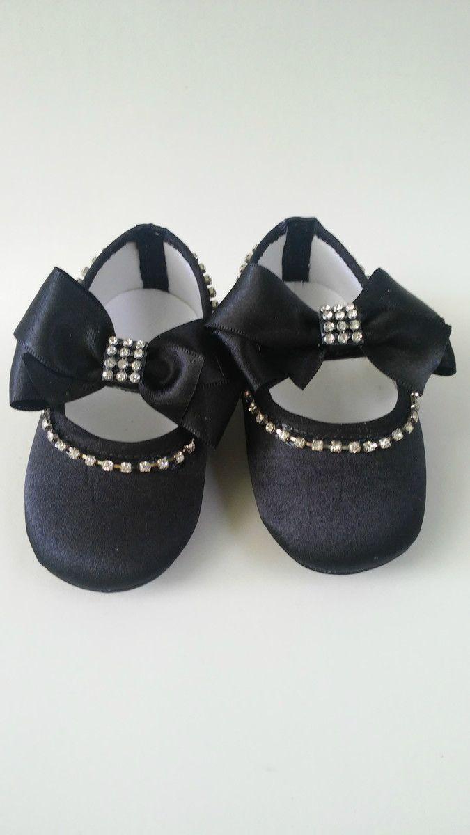 Sapatinho preto com laço e strass | Dindas Baby | Elo7