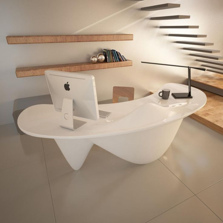 Scrivania+ufficio+Sinuous+design+moderno+in+resina+Bianca+Verde+Arancio
