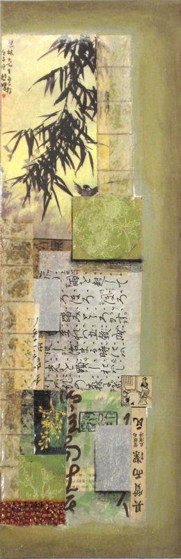 "Launa D. Romoff, ""Tea in the Garden"" 24""x8"" on canvas"