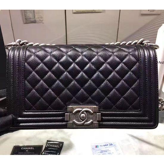 f7420882cd53a7 Chanel Black Quilted Caviar Medium Boy Bag Silver Hardware A67086 ...