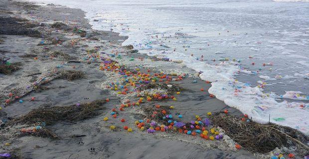 """Wenn das mal keine Überraschung ist: Sturmtief """"Axel"""" hat am Mittwoch auf der Nordseeinsel Langeoog hunderttausende Ü-Eier an den Strand gebracht."""