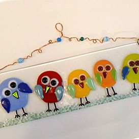 Fused Glass birds wall art made in glass fusing workshop