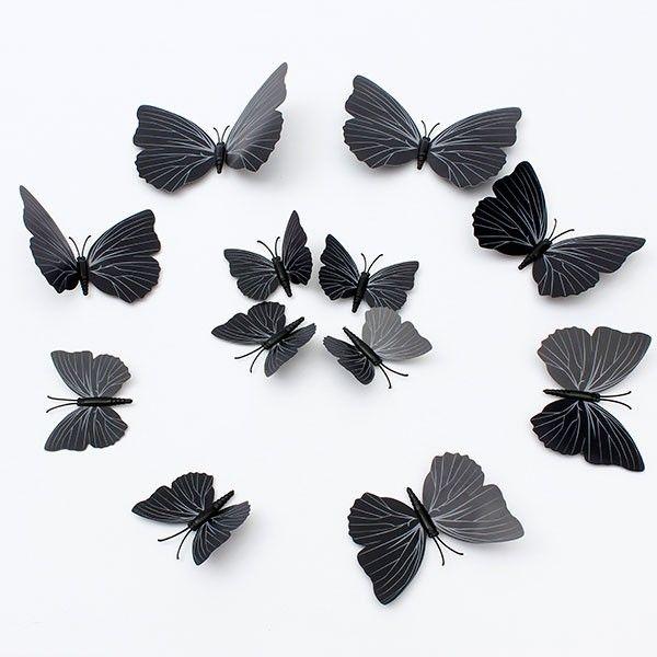 Черные 3D бабочки для украшения комнаты