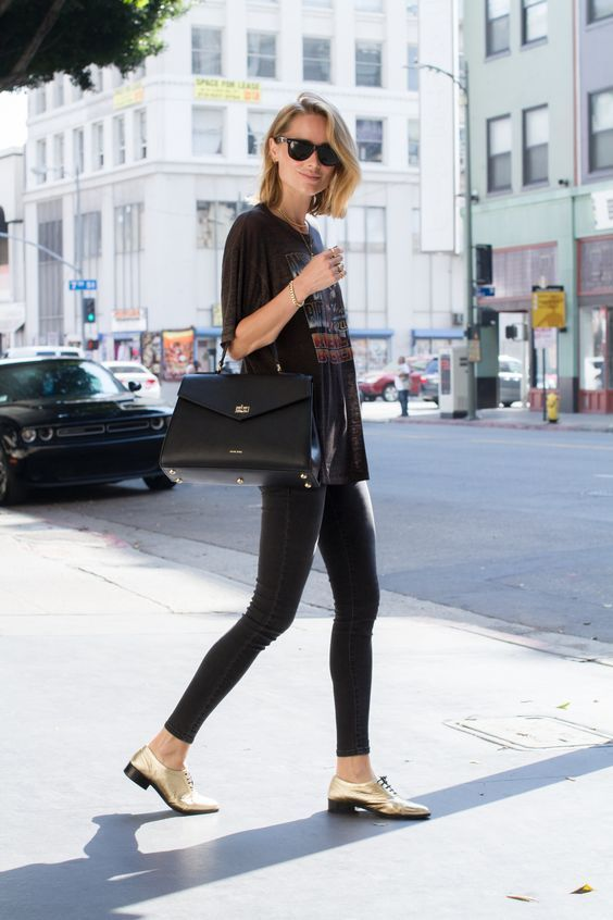 Street Style. Spring outfit. Golden shoes.