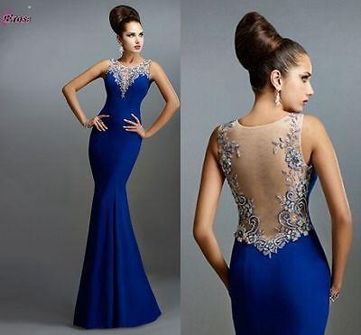 Largo Sirena formal vestido de fiesta cóctel o bola vestido de noche de Dama de honor vestido
