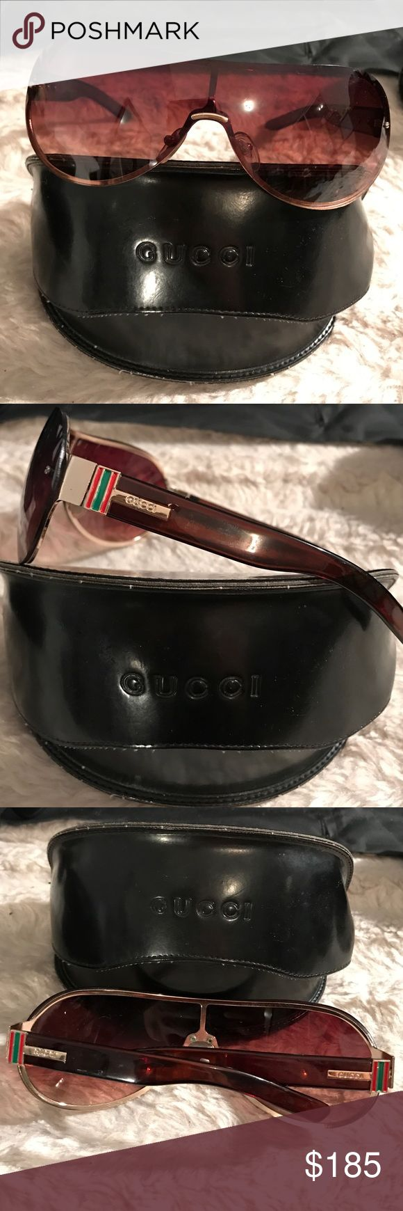 Authentic Gucci sunglasses and case Like new condition authentic pair of Gucci sunglasses with case. No scratches two lenses or your pieces. Brown frames with tortoise color your pieces. Trade value is higher Gucci Accessories Sunglasses