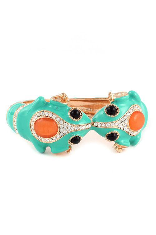 Schattige turkooise armband met strass