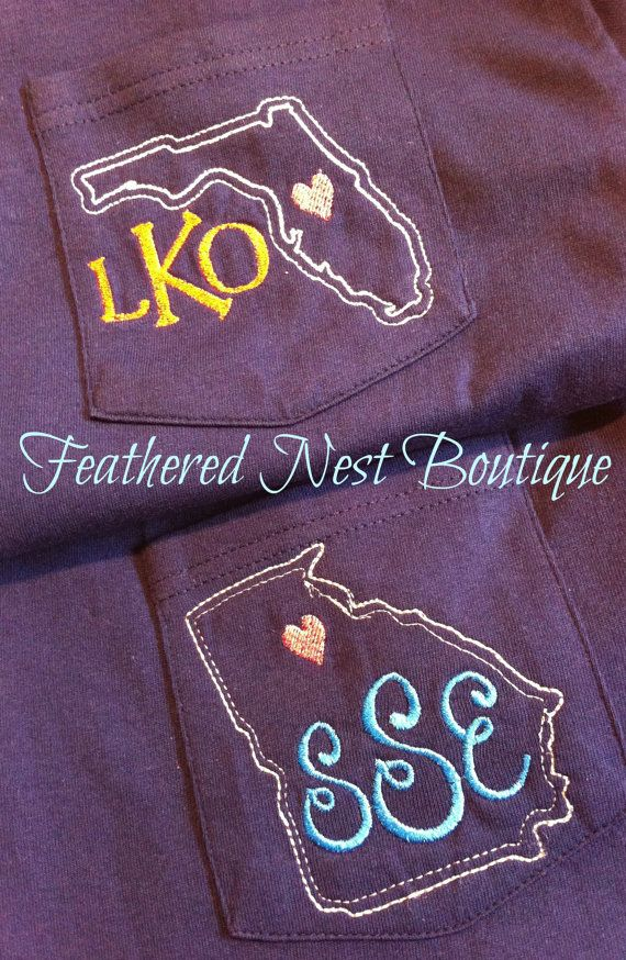 Custom State Monogrammed Pocket Tee Long by FeatherNestBoutique, $25.00 (I'm a small and I'd like light blue please :)