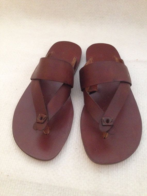 HIKE Wide Bar and Thong Leather Sandal Handmade por BODRUMSANDALS, $120.00