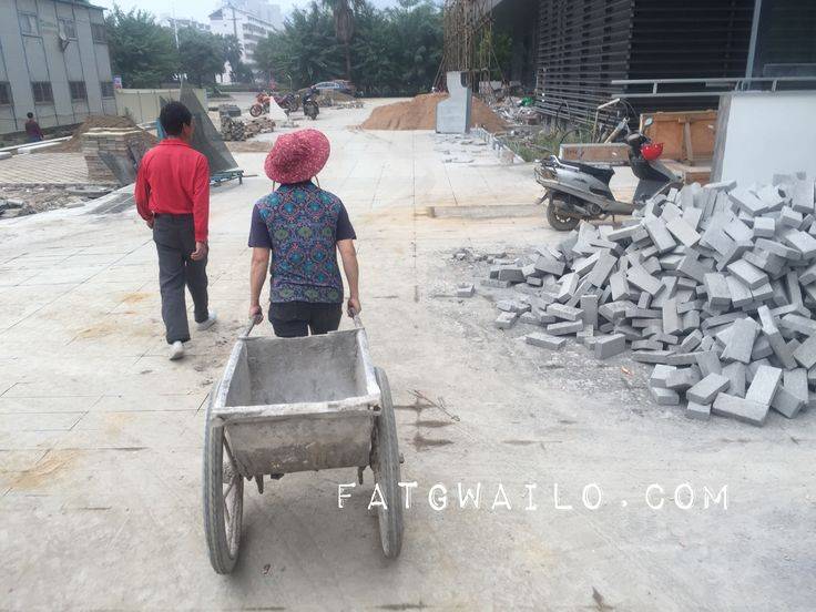 Typical wheelbarrow used in China. This was taken near a construction site