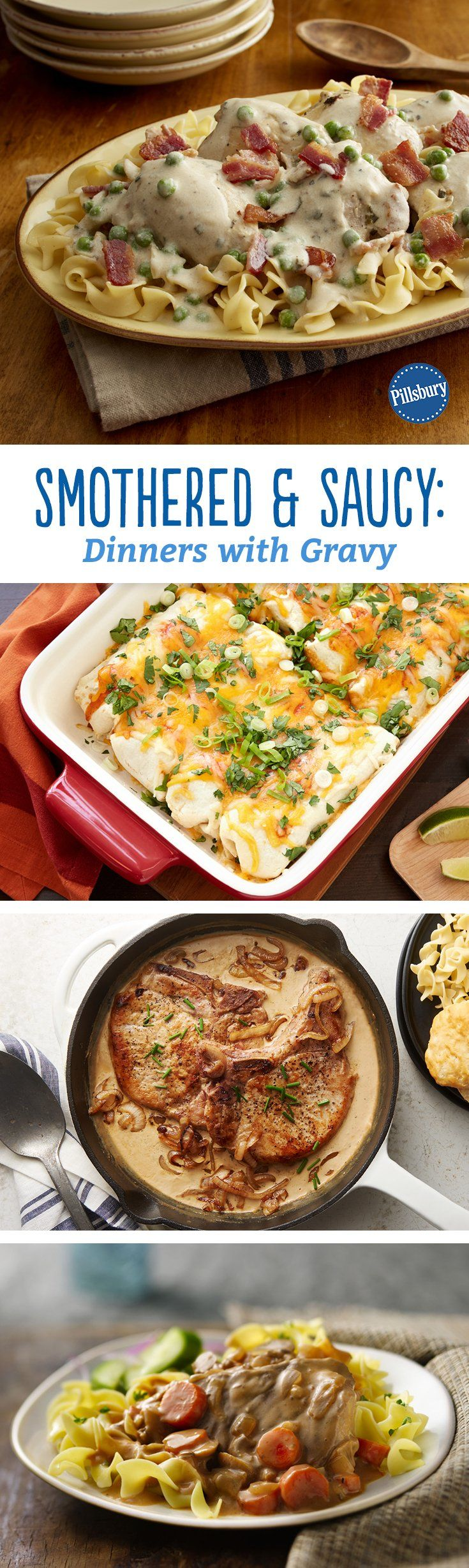 These dinners, smothered in sauce or gravy, are the very definition of cozy comfort food. From pork chops to smothered burritos, and everything in-between, we can't get enough of these favorites!