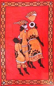Tenture Ethnique Porteuse d'Eau Batik