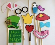 Alice in Wonderland Photo Booth, Photo Booth Prop Set, Alice in Wonderland Photo…