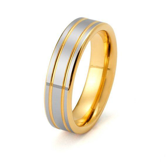 Yellow Tungsten Ring Yellow Tungsten Wedding by TungstenForever
