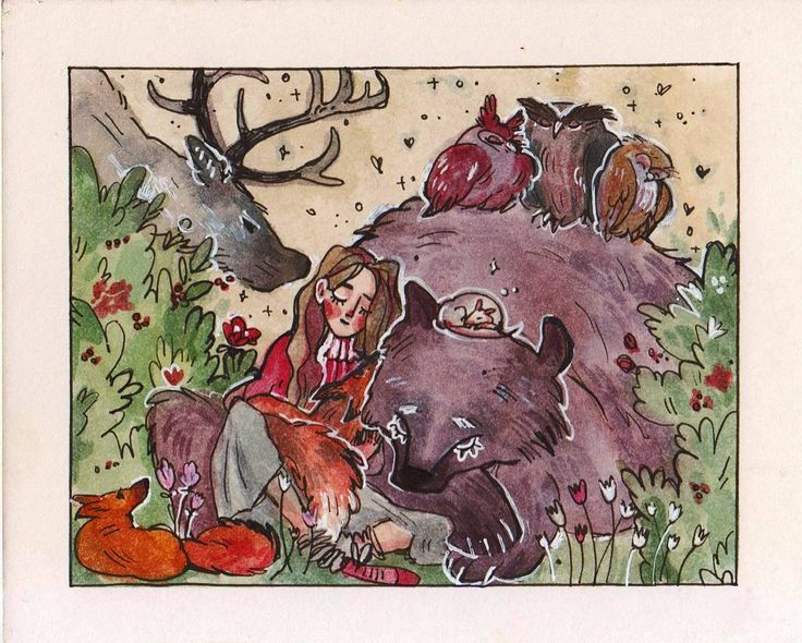 Time to sleep (with #foxes #bear #owls and #deer) #1page1day