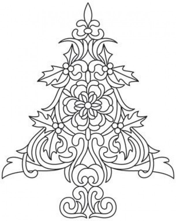 Dream Up A White Christmas With This Detailed Tree Design Downloads As A Pdf Use Pattern Transfer Christmas Coloring Pages Christmas Drawing Christmas Colors