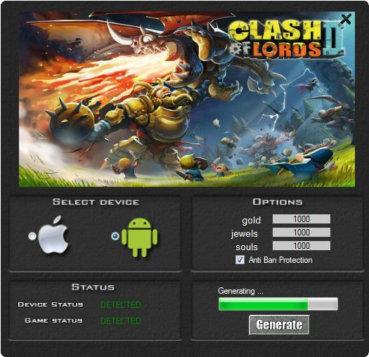 This hack works 100% to the game Clash of Lords 2. If you download this tool you can be generate a lot of gold, jewels and souls. Our group guarantee a hack it working very well. Tool is easy to use and does not need a installation.   http://wazzupgames.com/clash-lords-2-hack/