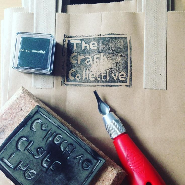 Today we designed a stamp for our bags :) #linocut #handmade