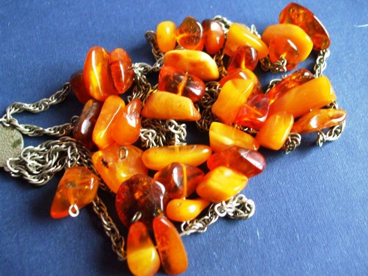 Vintage Natural baltic Amber Necklace Cognac yellow Carved beads metal 46.5 gr