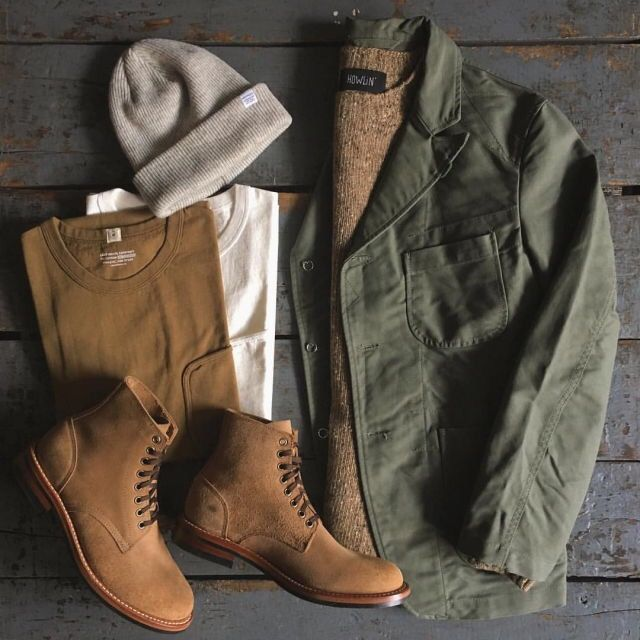 Outfit grid - Military green & brown