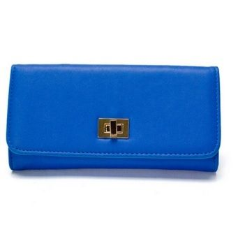 Blue Colour PVC Women Purse with Buckle