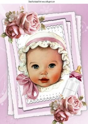 vintage baby girl in pink white bonnet with roses A4  on Craftsuprint - Add To Basket!