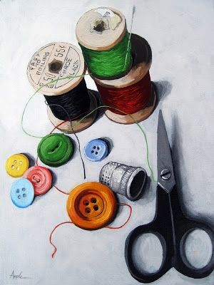 Sewing Memories 2 realistic still life sewing, painting by artist Linda Apple