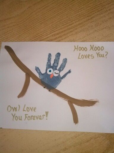Handprint owl- adorable! .. ...Check it out @Gennell Hinds French