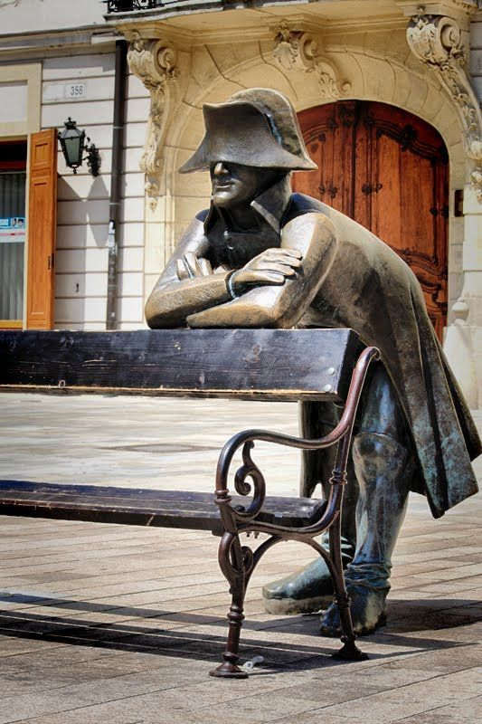 One of the many sculptures scattered around Old Town Bratislava, Slovakia. This one looks to me like Napoleon. (V)