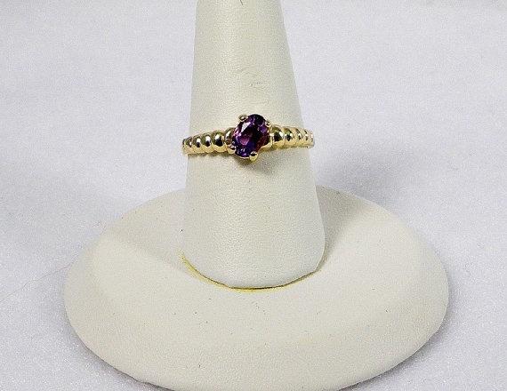 14K Yellow Gold Amethyst Quartz  Ring - Pastel Purple Faceted Amethyst, $289.00