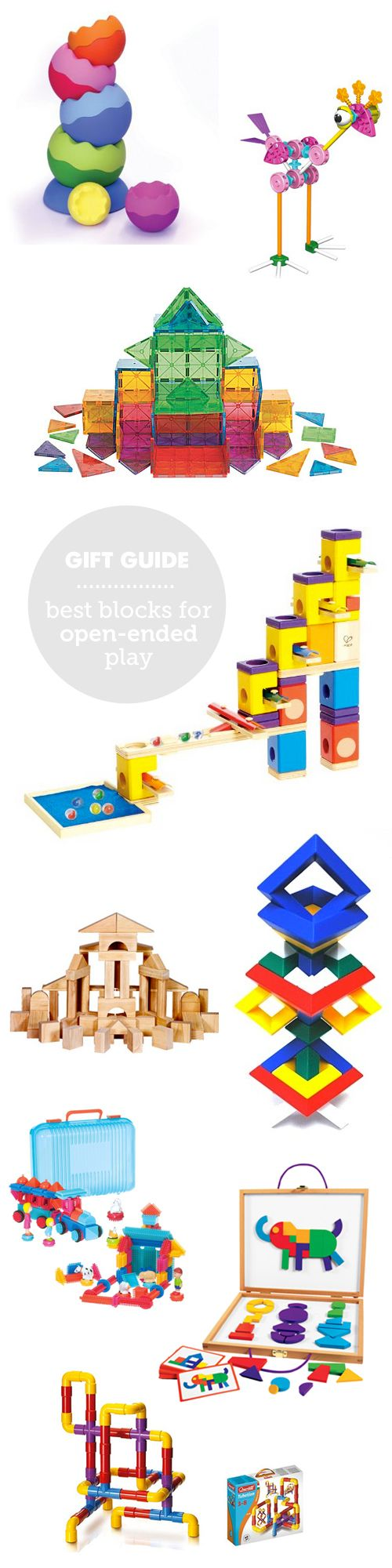 MPMK Toy Gift Guide: The Best Blocks for Open-Ened Play: Blocks are the ultimate creativity toy but they're not all created equal - these best picks for hours of open-ended play have detailed descriptions and age recommendations... Part of an AMAZINGLY huge and comprehensive set of gift guides covering lots of toys categories- each with great descriptions and age recommendations!