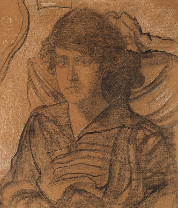 STANISŁAW IGNACY WITKIEWICZ(WITKACY) (1885 - 1939)  PORTRET MARII PLUCIŃSKIEJ Z D. NIKLAS, 1919   węgiel i pastel, papier beżowy / 57,4 x 48,7 cm (w świetle oprawy)  sygn. i dat. l.g.: T.B.+E/ Ignacy/ Witkiewicz/ 1919