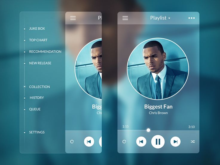 A music streaming app concept by Stan Mayorov. We love the #FlatDesign and the use of blurred images.