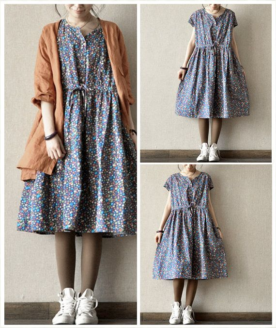Causel Loose  Blue Big  Hem Flower Women Long  Shirt  Women Dress